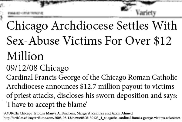 Chicago Archdiocese Settles 12 Million Dollar Sex Abuse Suit